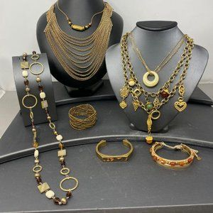 Gold Tone Chains & Charms Bead Jewelry